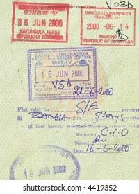 stamps of botswana and zambia in german passport