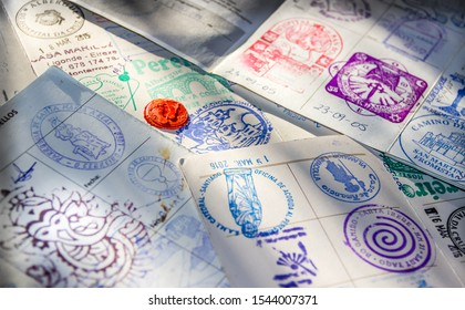Stamps inside the Pilgrim Passport (Credencial del Peregrino) along Camino de Santiago Way of Saint James