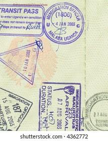 stamps of mauritius, uganda and australia in german passport