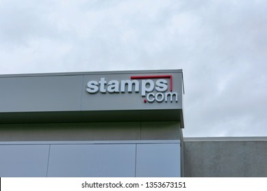 Stamps.com sign on company office in San Francisco Bay Area. Stamps.com provides Internet-based mailing and shipping services - Sunnyvale, California, USA - March 27, 2019