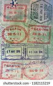 Stamps in UK passport from Asia travel
