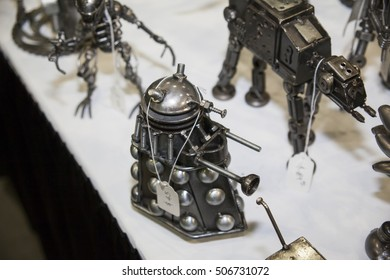 STAN LEE LOS ANGELES COMIC CON: October 29, 2016, Los Angeles, California. Vendors come out for the annual pop culture convention. A handmade metal sculpture of a Dalek from the BBC series Doctor Who.