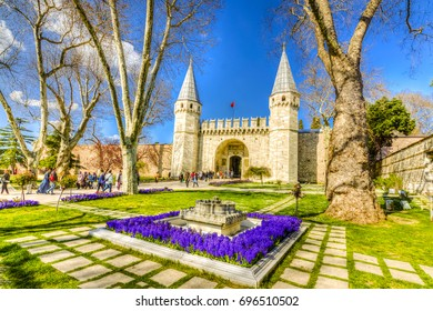 stanbul, Turkey - April 10, 2017 : People are visiting The gate of Salutation in Topkapi Palace. Topkapi Palace is popular tourist attraction in the Turkey. (HDR shot)