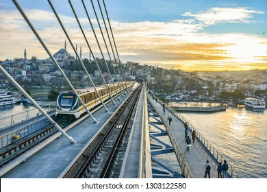 STANBUL, TURKEY - FEBRUARY 1, 2019: The train arrives at the platform in the Golden Horn subway (metro).