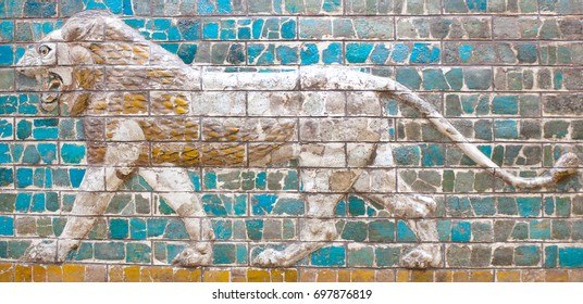 STANBUL, TURKEY - OCTOBER 30, 2015: Glazed brick panel with Lion - details of the Babylonian Ischtar Tor (Ishtar Gate) in the Istanbul Archaeology Museum