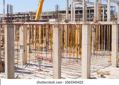 Stanchion and reinforcement of the pillars on a new construction of a hotel on the island of Tenerife in Spain