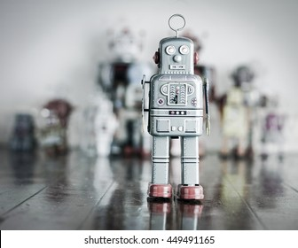 stand alone robot on wooden floor tomed image