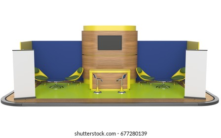 Stand booth isolated for customization. 3D rendering