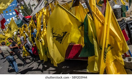 Stand of Hezbollah's flags at Liberation Day (Bint Jbeil, 25 May 2014)