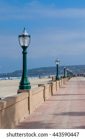 stand lamps on beach walk