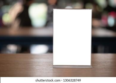 Stand Mock up Menu frame tent card blurred background design key visual layout