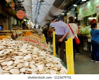 A stand with nuts in the Mahane Yehuda Market in Jerusalem