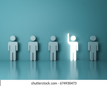 Stand out from the crowd and different concept , One glowing light man raising his hand among other people on light green background with reflections and shadows . 3D rendering.