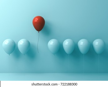 Stand out from the crowd and different concept , One red balloon flying away from other cyan balloons on light cyan pastel color wall background with window reflections and shadows . 3D rendering.