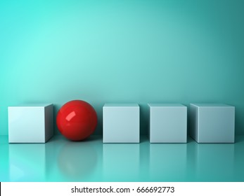 Stand out from the crowd and different creative idea concepts , One red sphere standing among white square boxes on green background in the row with reflections and shadows . 3D rendering.