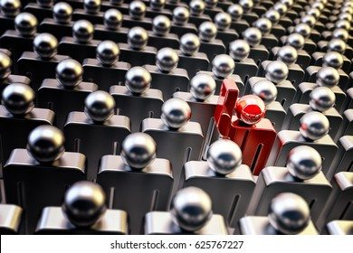 Stand out from the crowd and outstanding concept, one red person with a raised hand among a lot of people, 3d illustration