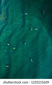 Stand Up Paddle Boarders in a Lagoon