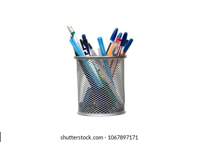 Stand for pens and pencils on the desktop on a white background