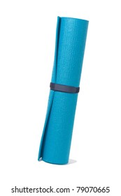 stand roll yoga mat on white and path