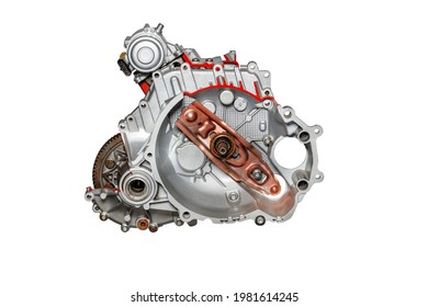 The stand shows a cutaway automatic transmission of a car, the image is highlighted on a white background. Auto parts.