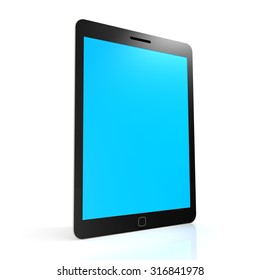 Stand tablet with blue screen image with hi-res rendered artwork that could be used for any graphic design.