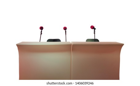 Stand with three microphones for press conferences, interviews, meetings and public speaking isolated on white background.