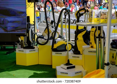 Stand washing equipment of German company Karcher at the exhibition in Kiev, Ukraine 22.09.2017