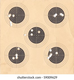 Standard black and white Olympic target for or firing a pistol useful as a background
