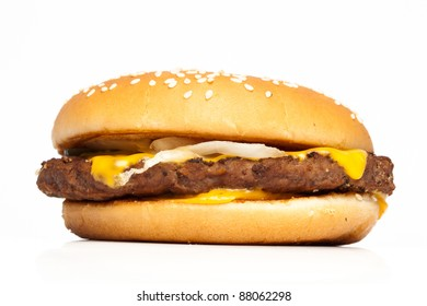 Standard cheeseburger isolated on white background
