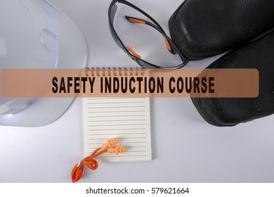 Standard construction safety equipment isolated on white with conceptual text.