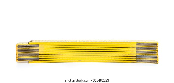 Standard folding meter stick. All on white background
