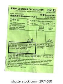 Standard green Customs Declaration is used to declare the content of letter items and weighing
