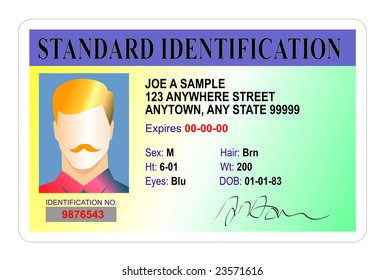 Standard Identification card isolated on white