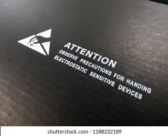 """Standard logo with text """"Attention"""" for Electrostatic Sensitive Devices (ESD) on anti static  carton box in electronic industrial."""