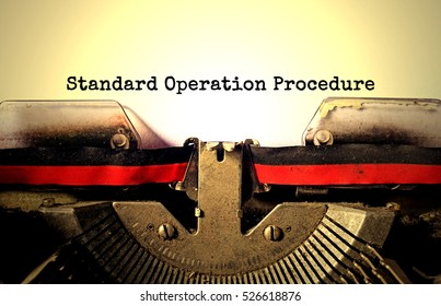 Standard Operation Procedure typed words on a vintage typewriter