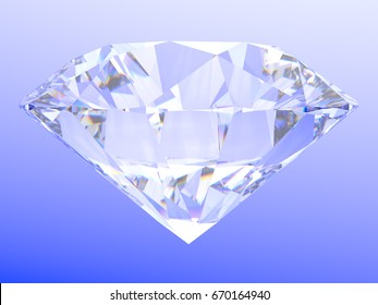 Standard round brilliant cut diamond standing on its point, close-up side view on light blue gradient background.  3D rendering illustration