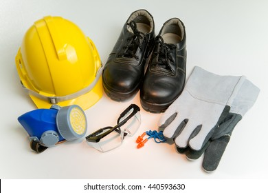 Standard safety tools on white background.