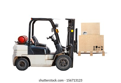 Standard small gas engine truck lift with cardboard cargo boxes isolated on white