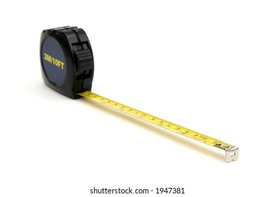 Standard tape measure against white background.