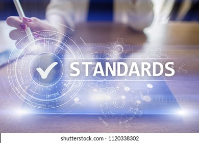 Standards compliant check, Quality assurance and control. Business and technology concept.
