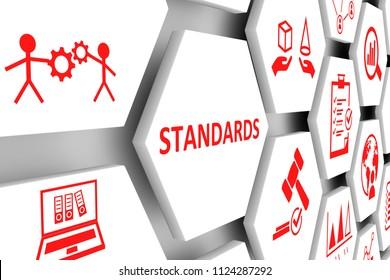 STANDARDS concept cell background 3d illustration