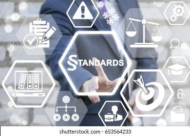STANDARDS LAW COMPLIANCE REGULATIONS BUSINESS concept. Businessman touched paragraph standard text icon on virtual screen. Judicial people work security technology.