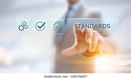 Standards quality Assurance control standardisation and certification concept.