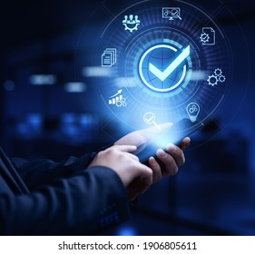 Standards quality control certification business technology concept.