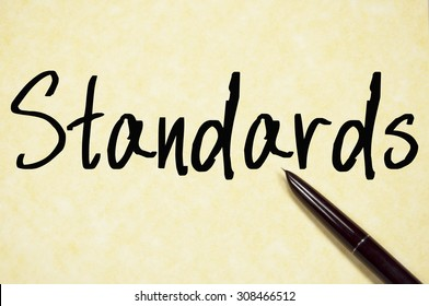 standards text write on paper