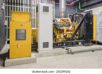 Standby diesel generator unit has a unit mounted radiator and fuel filter system.