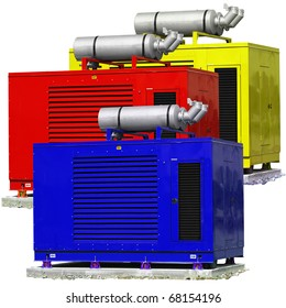 Standby generators - Blue, red & yellow electric power plants.