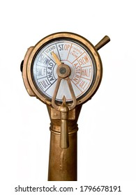 Standby wait and see concept: Vintage ship engine order telegraph, a tool used to communicate between navigation bridge and engine room to change the speed of a ship. Isolated telegraph.
