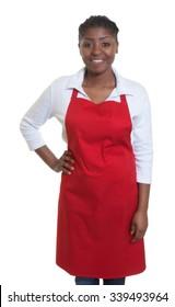 Standing african american waitress