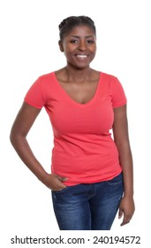 Standing african american woman in a red shirt